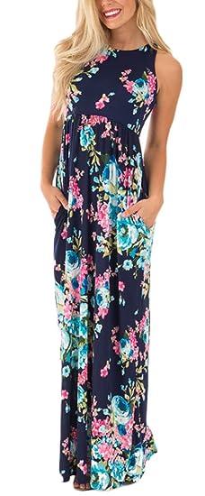 Vestidos Mujer Verano De Fiesta Largos Ropa Marcas Vintage Flores Estampados Elegantes Sin Mangas Alto Cintura