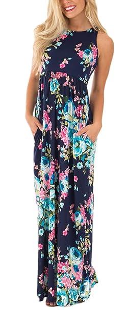 01740c143edc Battercake Vestiti Donna Estivi Eleganti Lunghi Vintage Cerimonia Cocktail  Impero Hippie Mare Floreali Spiaggia Casual Senza