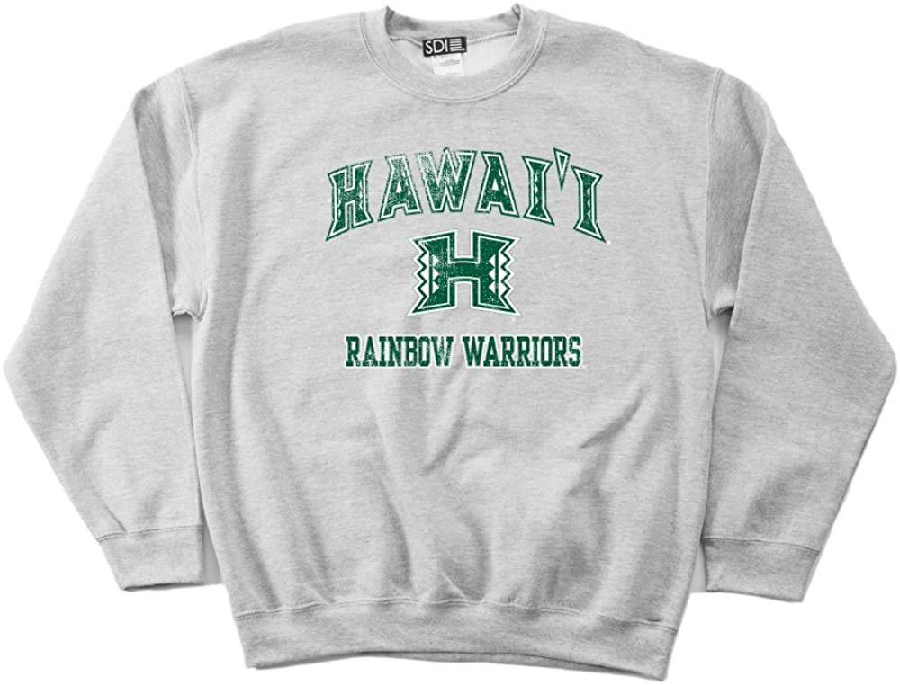 NCAA Hawaii Rainbow Warriors 50//50 Blended 8-Ounce Vintage Mascot Crewneck Sweatshirt