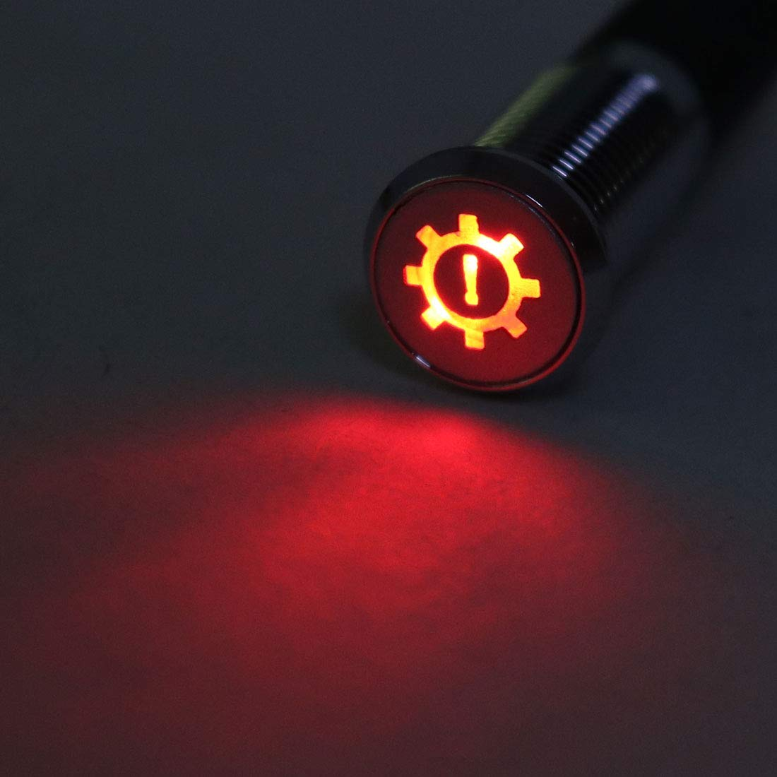 uxcell Signal Indicator Light DC 12V 8mm Red LED Metal Shell with Symbol Gearbox Failure