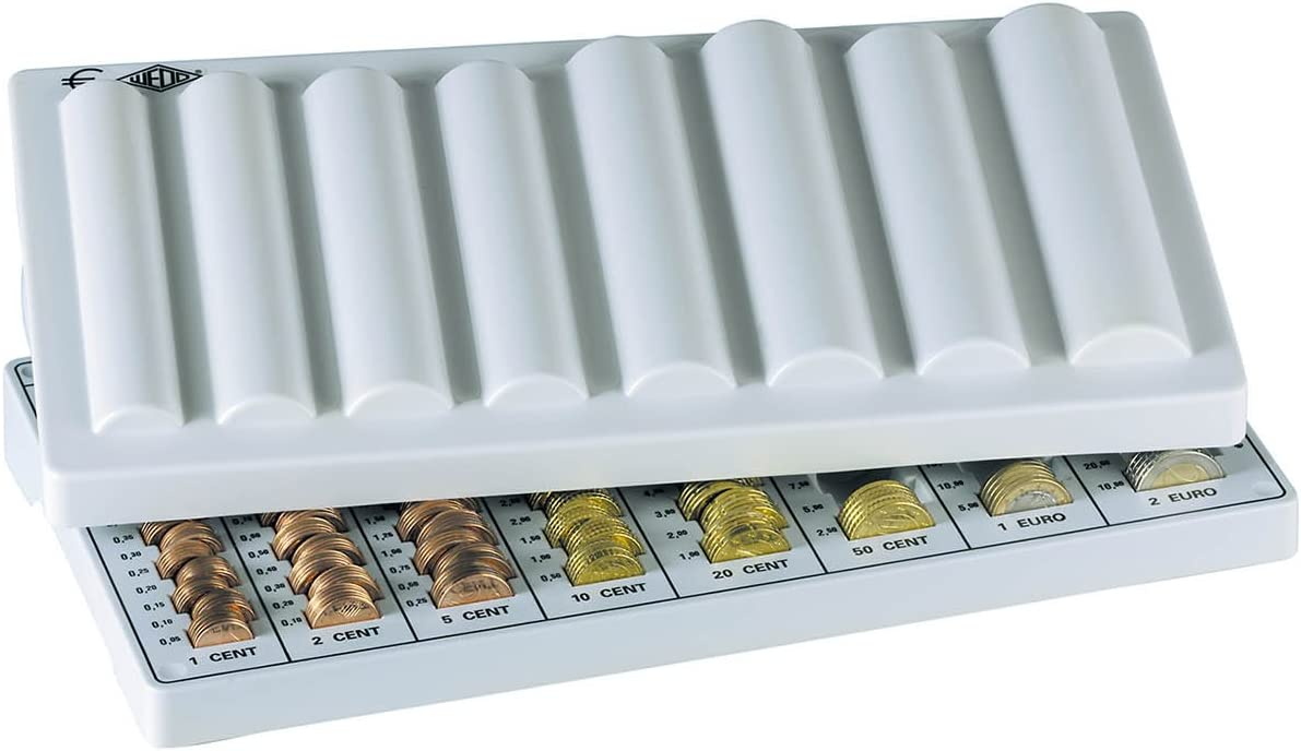 Wedo 160500937 Euro Coin Counting Tray with Lid 33 x 18 x 4.5 cm Light Grey