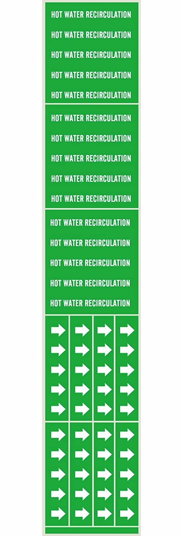 Legend Hot Water Recirculation 2 1//4 Height X 2 3//4 Width Legend Hot Water Recirculation Brady 7375-3C Self-Sticking Vinyl Pipe Marker B-946 2 1//4 Height X 2 3//4 Width White On Green Pressure Sensitive Vinyl