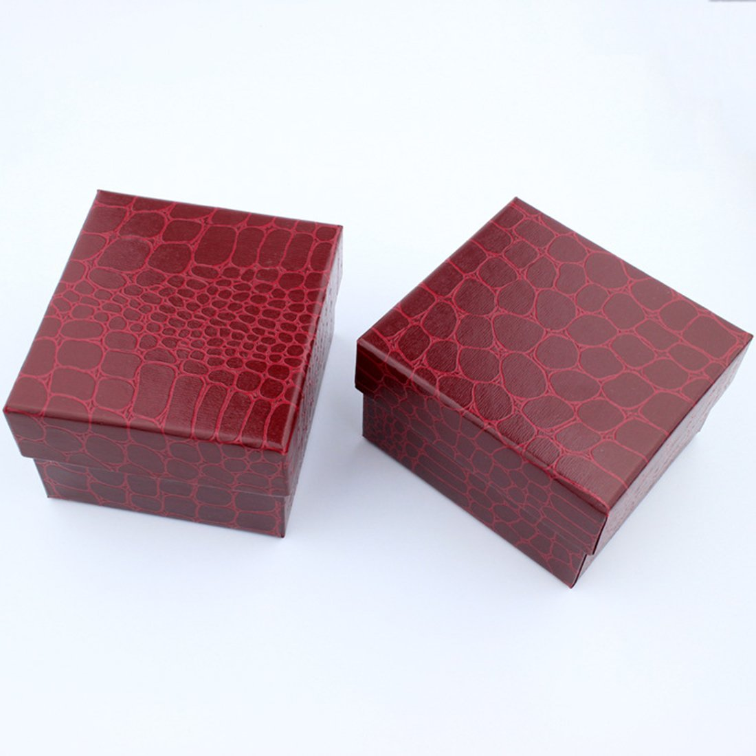 Bo/îte /à bijoux//montre//Bracelet//Collier// Boucles doreilles en cuir Rouge fonc/é
