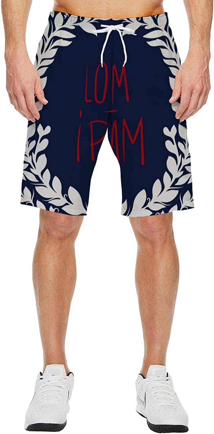 Prime Leader Mens Beach Shorts Blue Texture Style Summer Casual Quick Dry Short Pants Stretch Swimming Trunks with Pocket