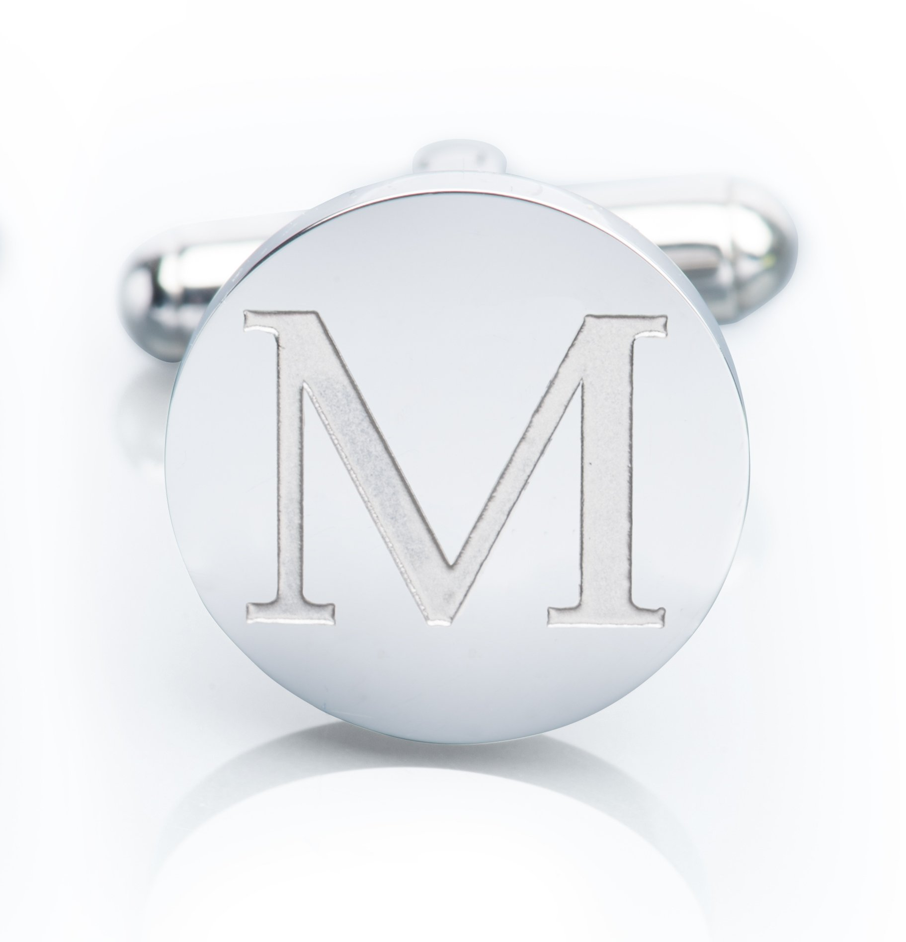 Men's 18K White Gold-Plated Engraved Initial Cufflinks with Gift Box– Premium Quality Personalized Alphabet Letter (M - White Gold) by Iron & Oak (Image #3)