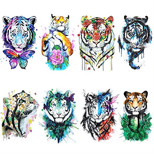 Watercolor Tiger Temporary Tattoo for women, Teens,Guys,kids, girl (8 Sheets) by Yesallwas, Waterproof long lasting Fake Tattoos Stickers for Arms Shoulders Chest & Back- Arm Tattoos 15x21cm/5.9x8.26 -