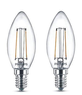 Philips - Pack de 2 bombillas decorativas LED, E14, 2 W