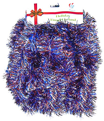 Love It Products 25 Ft. Long Seasonal Holiday Tinsel Garland from Use for Christmas, Thanksgiving, New Years, Birthday and Any Celebration, Party or Event. (1, Super Thick Red, White and Blue) ()