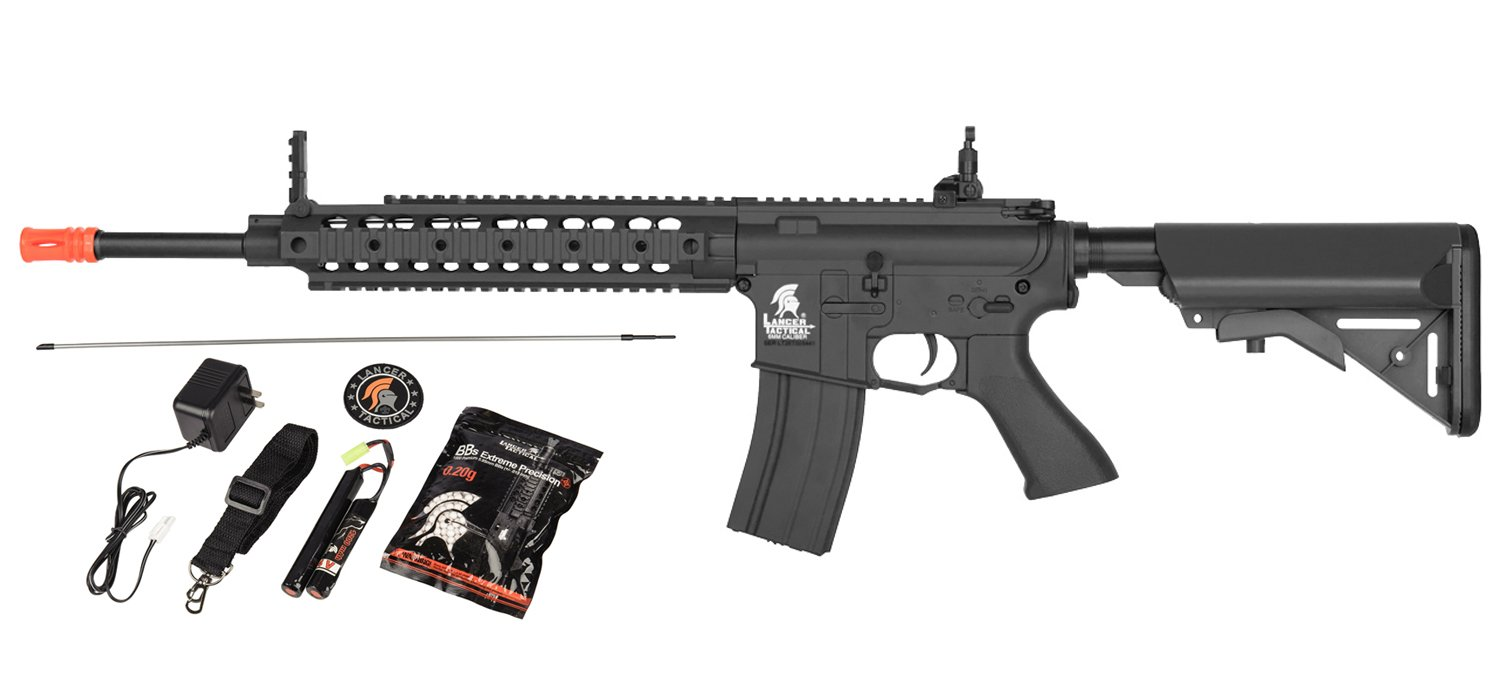 Lancer Tactical AEG SR-16 Electric Auto Airsoft Rifle Gun w/Battery + Charger (Black) by UKARMS