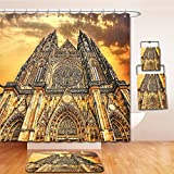 LiczHome Bath Suit: Showercurtain Bathrug Bathtowel Handtowel Gothic Decor Famous Cathedral European Church Catholic Gifts Sunset Tower Medieval Architecture Prague Picture Tapestry Believe Art Chri
