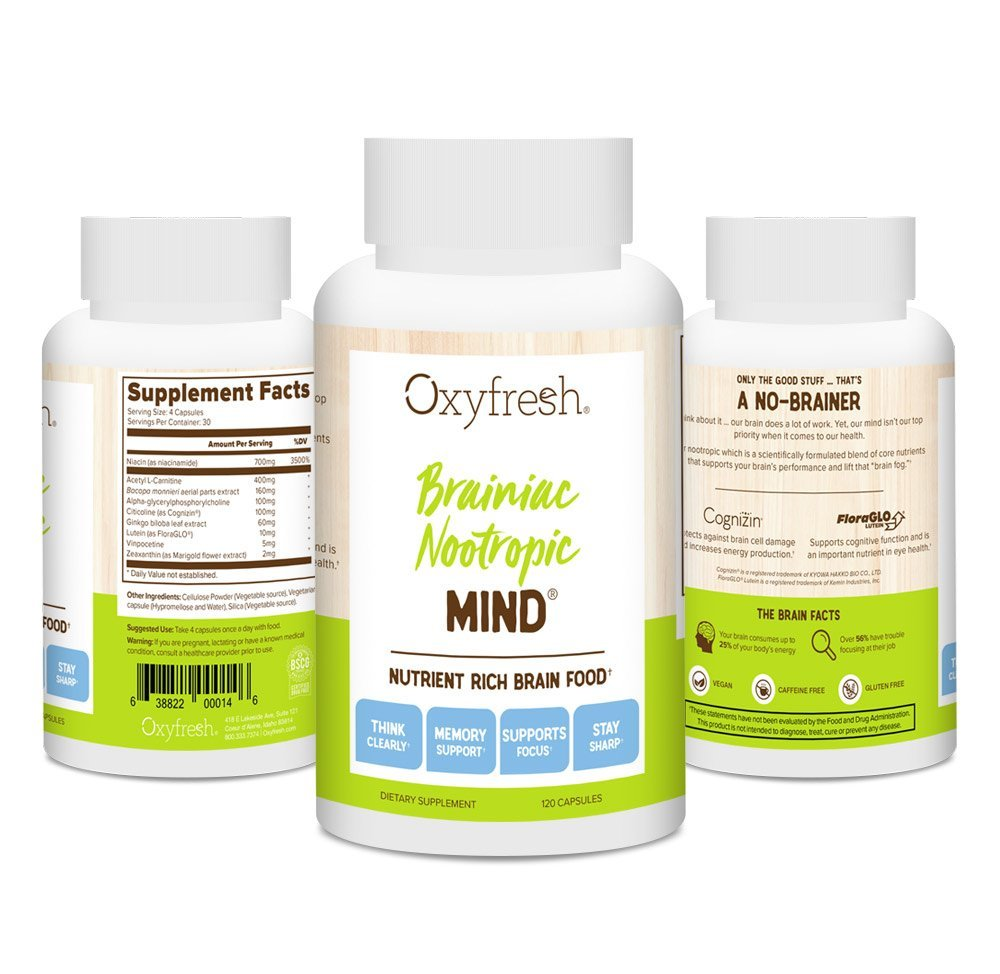 Oxyfresh Mind Daily Nootropic Supplement - Brain Function Support - Neuro Cognitive Nutrient - Improve Memory - Increase Mental Acuity - Better Clarity & Concentration - 120 Packets - Oxyfresh Mind