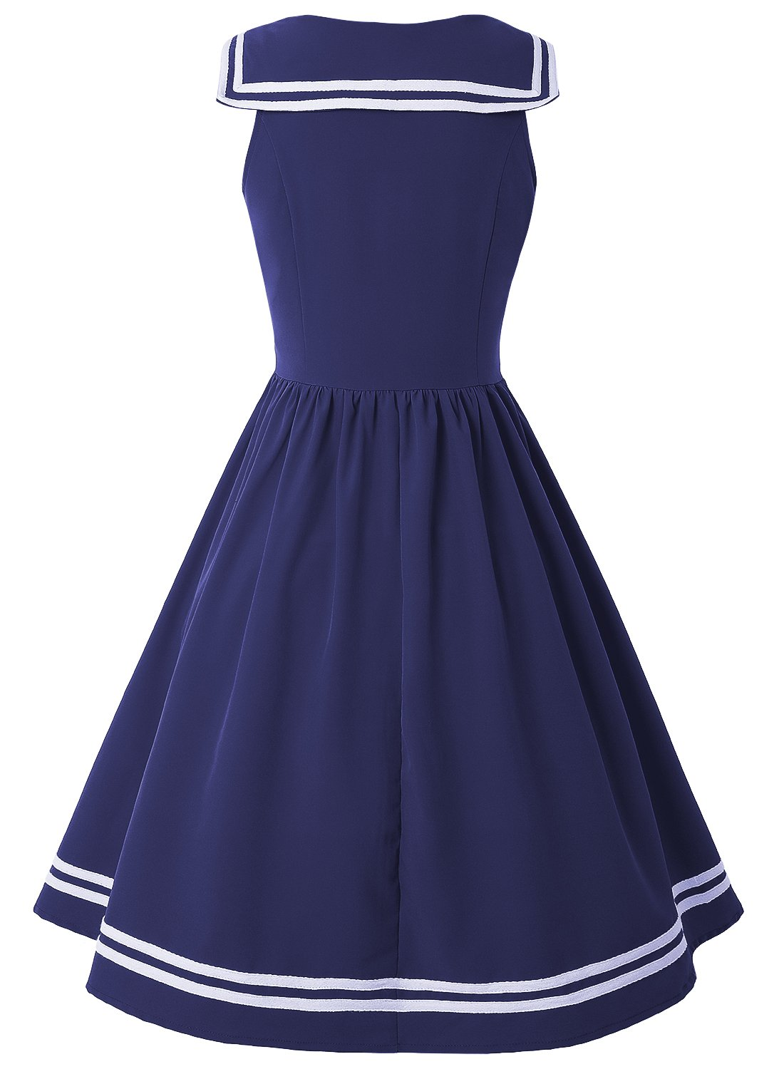 ZAFUL Women Vintage Dress 1950s Nautical Style Summer Sailor Collar Sleeveless Cute Cocktail Party Swing Dresses(Blue,S) by ZAFUL (Image #2)