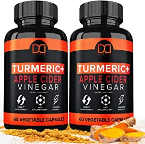 Turmeric Capsules Supplement with Apple Cider Vinegar Pills 1650mg Tumeric Curcumin with Black Pepper Bioperine Ginger Extract Organic Powder, Premium Joint & Healthy Inflammatory Support (2-Pack)