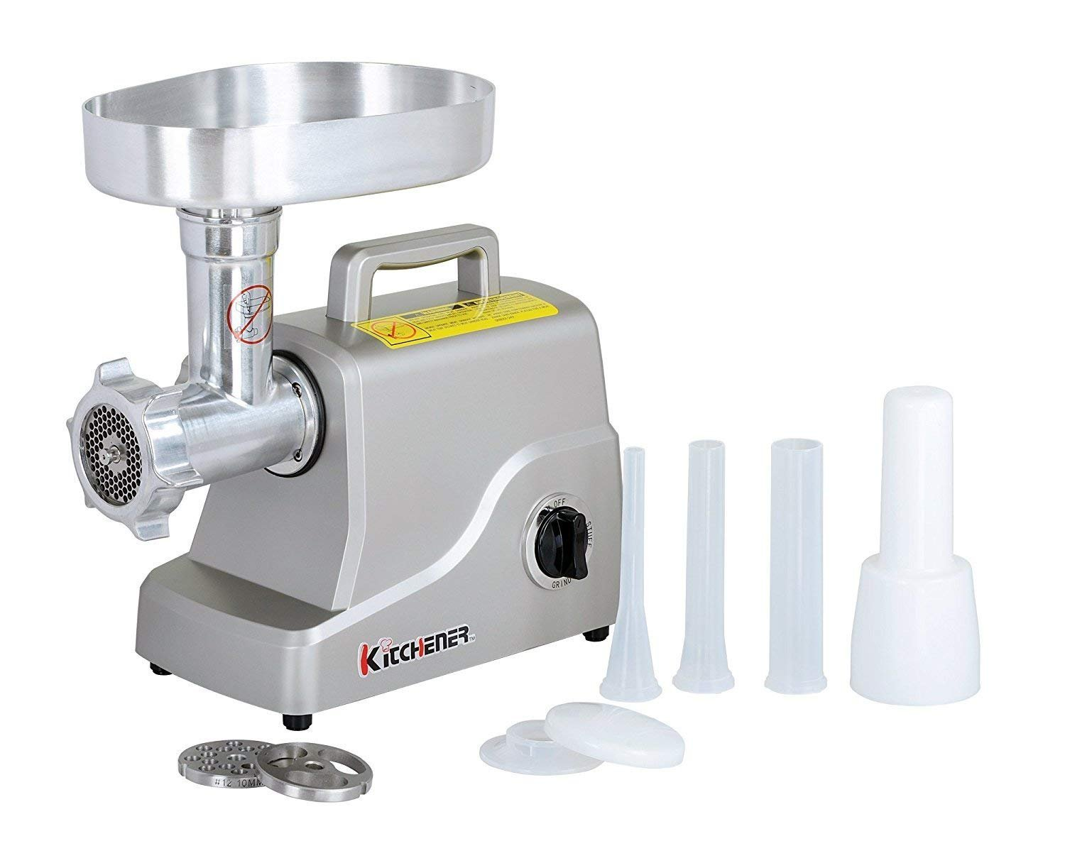 Kitchener Heavy Duty Electric Meat Grinder 2/3 HP (500W), 3-speed with Stainless Steel Cutting Blade, 2 Stainless Steel Grinding Plates and Stainless Steel Stuffing Plate GCM 52021250R