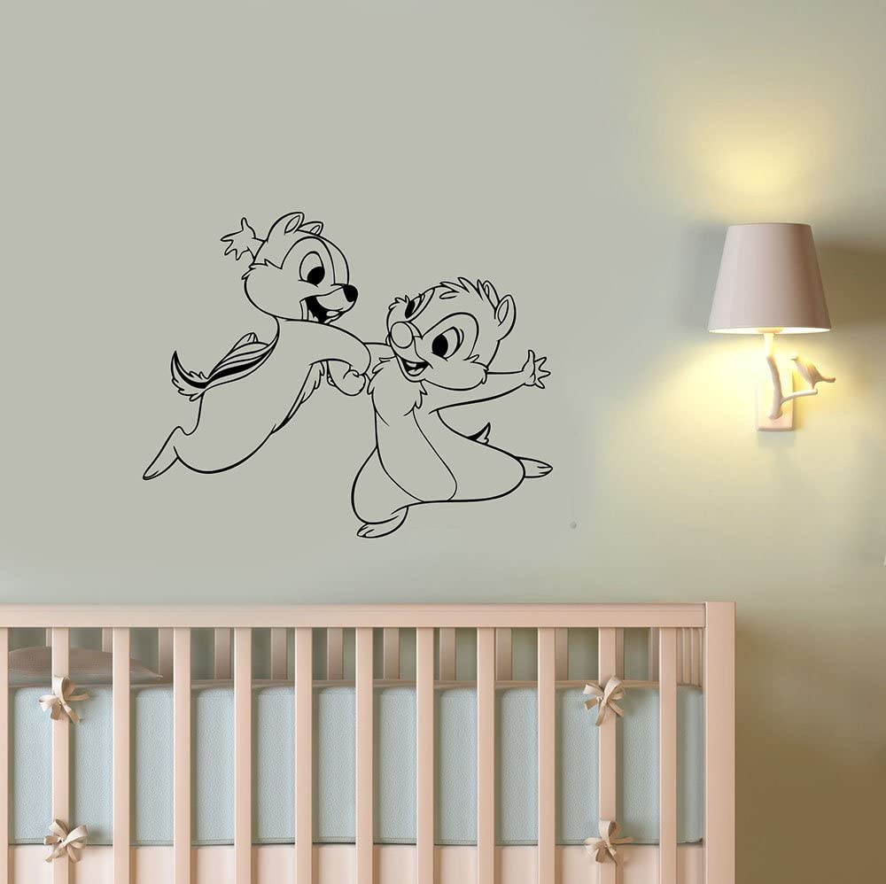Chip and Dale Removable Wall Decal Funny Chipmunks Vinyl Sticker Art Cartoon Animal Decorations for Home Kids Room Nursery Decor cnp1