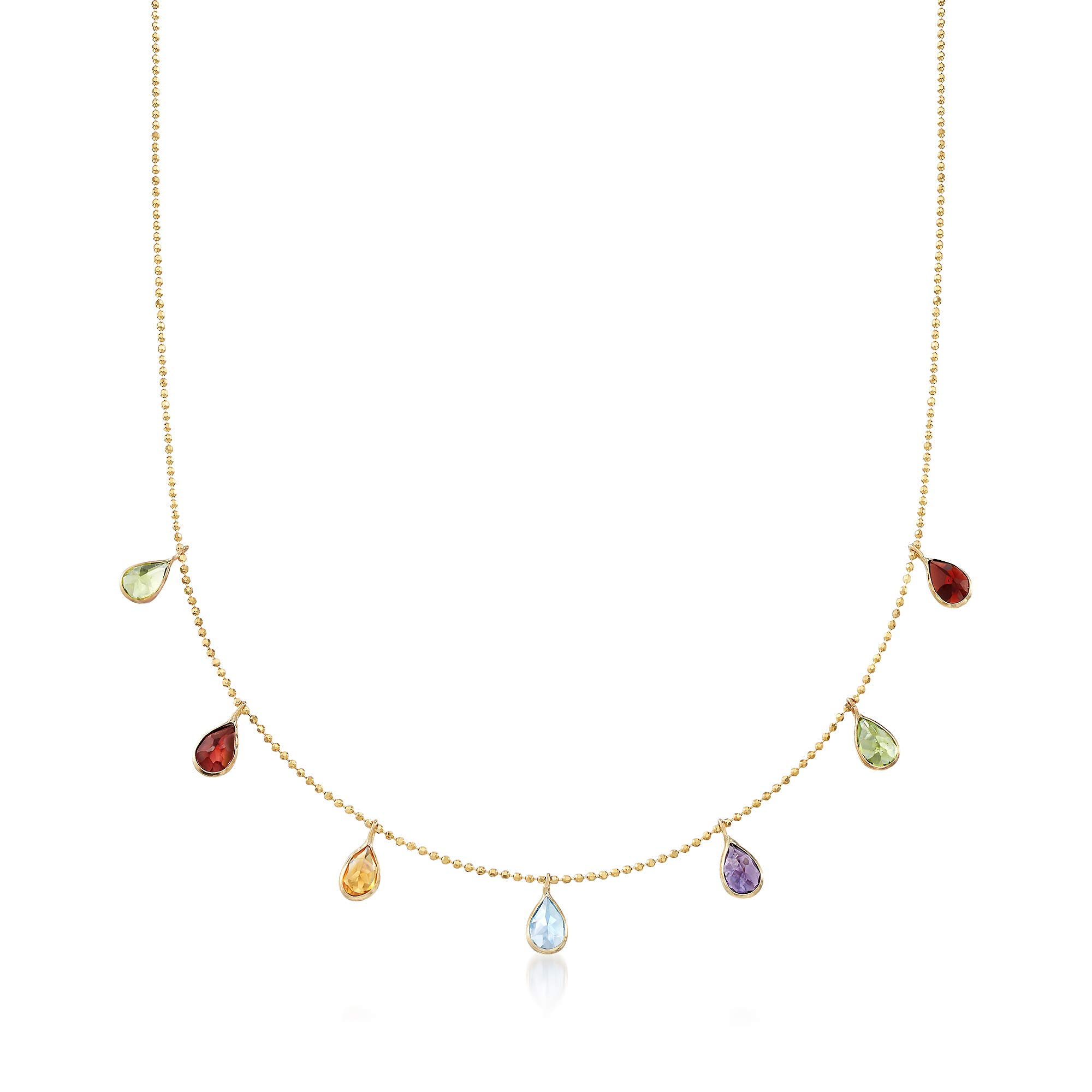 Ross-Simons 2.80 ct. t.w. Multi-Stone Station Necklace in 14kt Yellow Gold