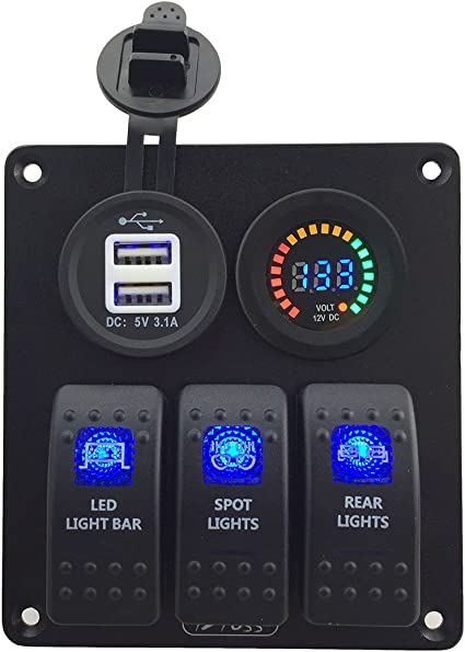 IZTOSS 4 Gang Aluminium 3pin Rocker Toggle Switch Panel with Waterproof Circuit Breaker Power Charger Socket Dual 3.1A USB and Installation Kits for Marine Boats Car Vehicles Truck Blue LED