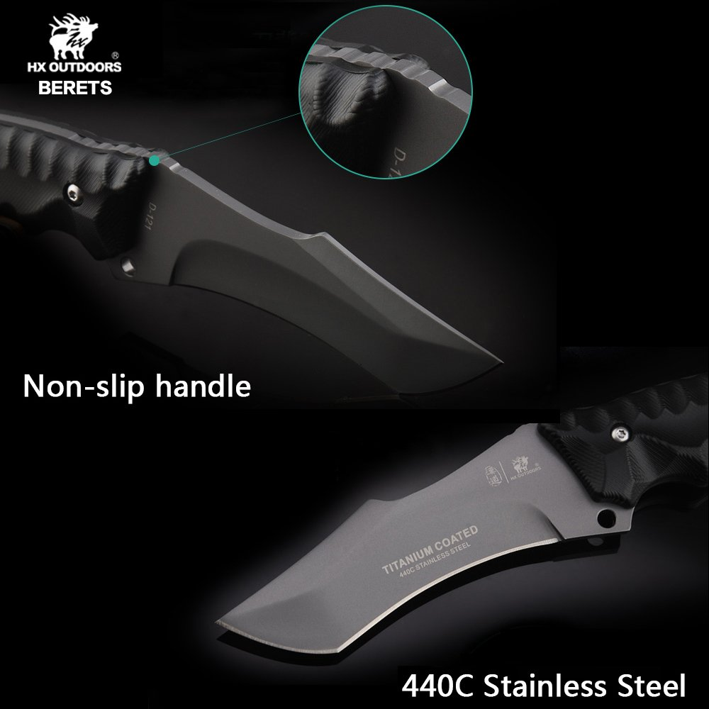 BERETS Special forces tactical knife outdoor hunting camping Army Knives military tactical knife Fixed Blade by HX OUTDOORS (Image #3)