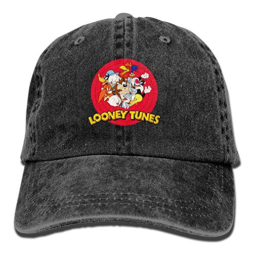 Quxueyuannan Looney Tunes Cap Adjustable Vintage Washed Denim Baseball Cap Dad Hat