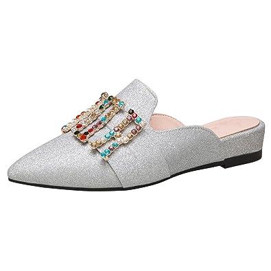 Artfaerie Damen Flache Slingback Pantoletten Pointed Toe Slipper Mules mit Glitzer Schleife Bequem Lack Loafer Hochzeit Braut Schuhe u0cc1