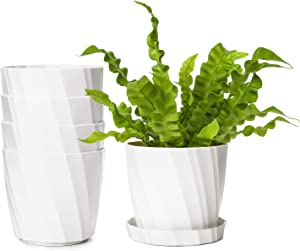 Dahey 5 Inch Plastic Planters Flower Pots with Saucers, Set of 5 Modern Decorative Gardening Containers for Succulents, Flowers, Herbs, Cactus, House and Office Décor, White