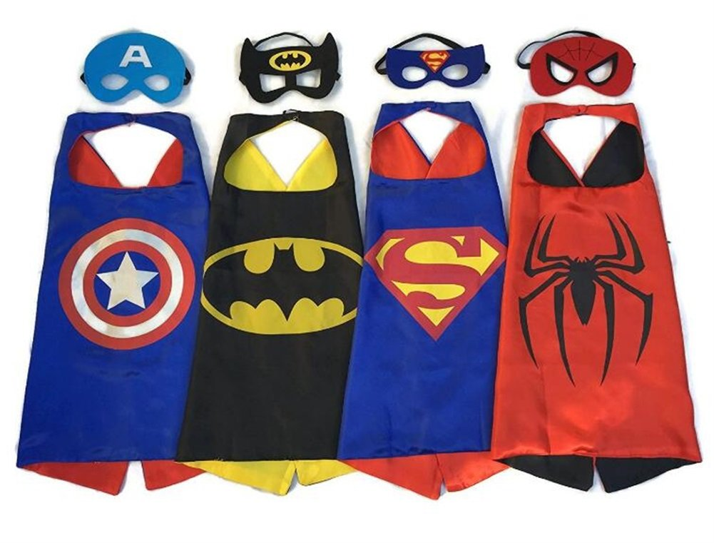 NYKKOLA Cartoon Dress Up Costumes Satin Capes with Felt Masks for Children Boy and Girl NO.15 NO.6