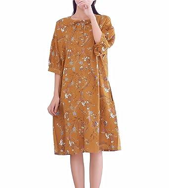 643d2861cb6c YUHEYUHE Women s Casual Loose Short Sleeves Summer Floral Cotton Midi Dress  Yellow