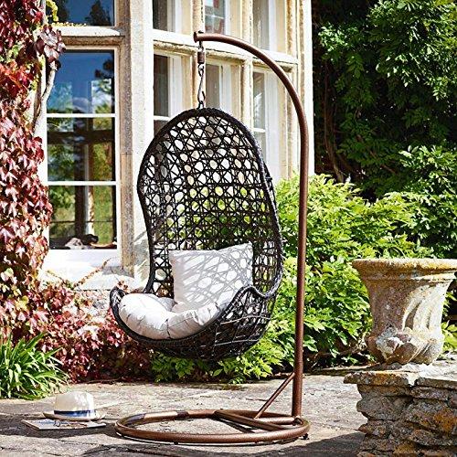 all weather outdoor rattan garden furniture hanging pod brown - Garden Furniture Pod