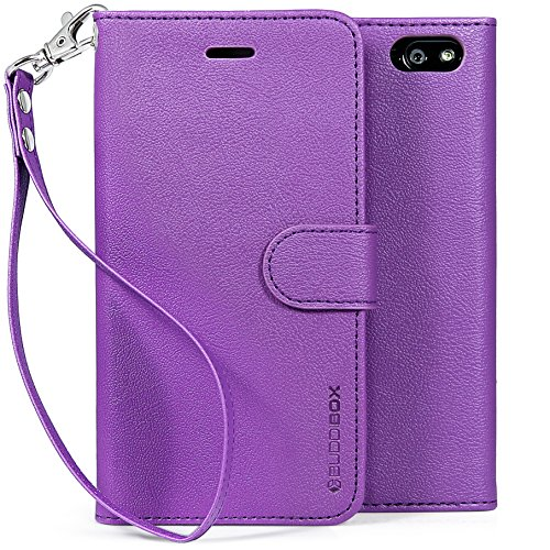 BUDDIBOX Fire Phone Case,  [Wrist Strap] Premium PU Leather Wallet Case with [Kickstand] Card Holder and ID Slot for Amazon Fire Phone, (Purple)