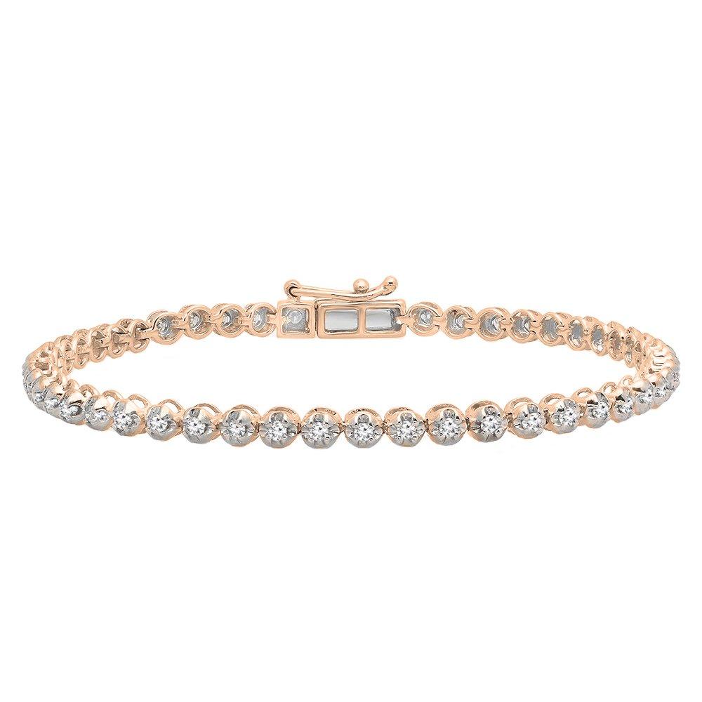 1.00 Carat (ctw) 10K Rose gold Round Cut White Diamond Ladies Tennis Bracelet 1 CT