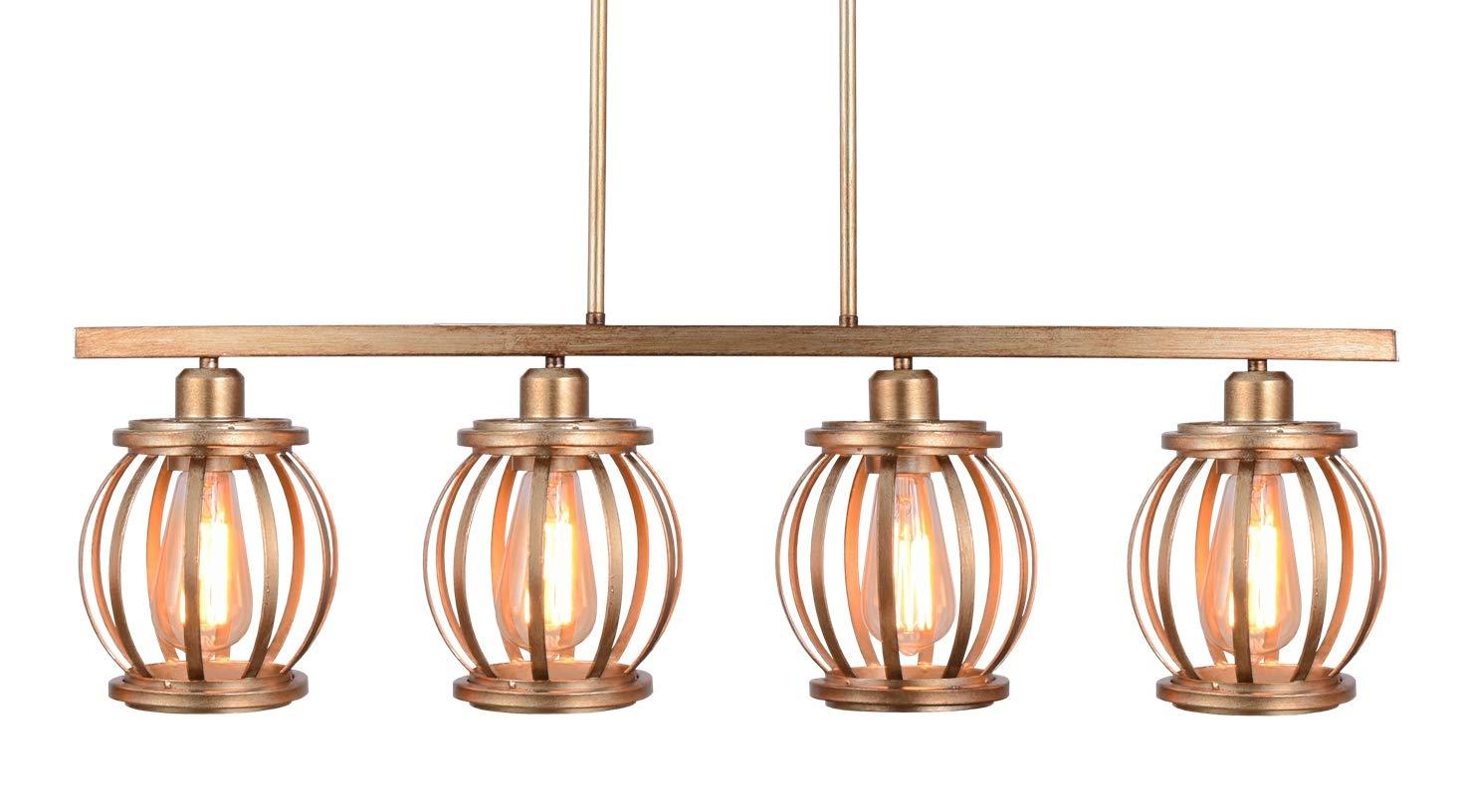 Alice House 32.5'' Kitchen Light Fixtures, 4 Light Island Lighting, Antique Gold Finish,Dining Room Pendant Light, Farmhouse Chandelier AL7091-P4