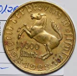 1923 DE BU0103 Germany 10000 Mark XF~AU notgeld the one you receive will be of the same grade, but different coin DE PO-01