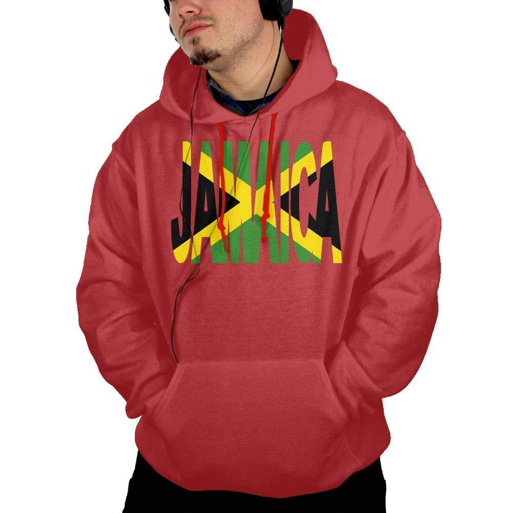 Jamaica Text with Jamaican Flag Men Hoody New\r\n Fleeces with Kanga Pocket
