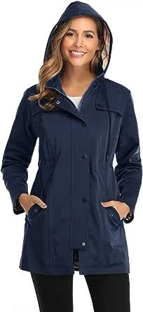 SaphiRose PONCHO Chaqueta de Lluvia Largo para Mujer Encapuchado Chubasquero Impermeable Al Aire Libre