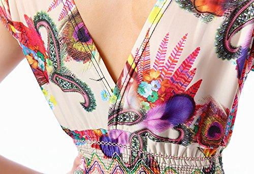 Avacostume Des Femmes De Tunique Bohème Robe Longue Soirée De Bal D'impression Rose Vintage