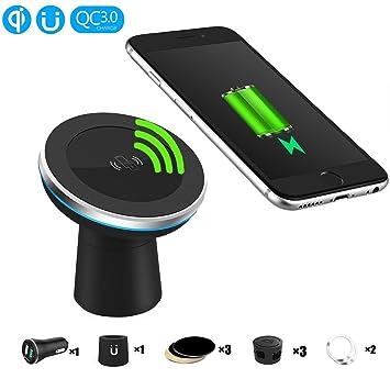 EooCoo Cargador inalámbrico de coche magnético [360 grados], Cargador Inalámbrico QI Wireless de Movil para iPhone 8 / 8 Plus / X ,para Samsung Glaxy ...