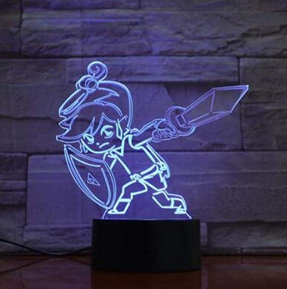 GJXYED Triángulo Zelda 3D Luz De Noche Led 16 Colores ...