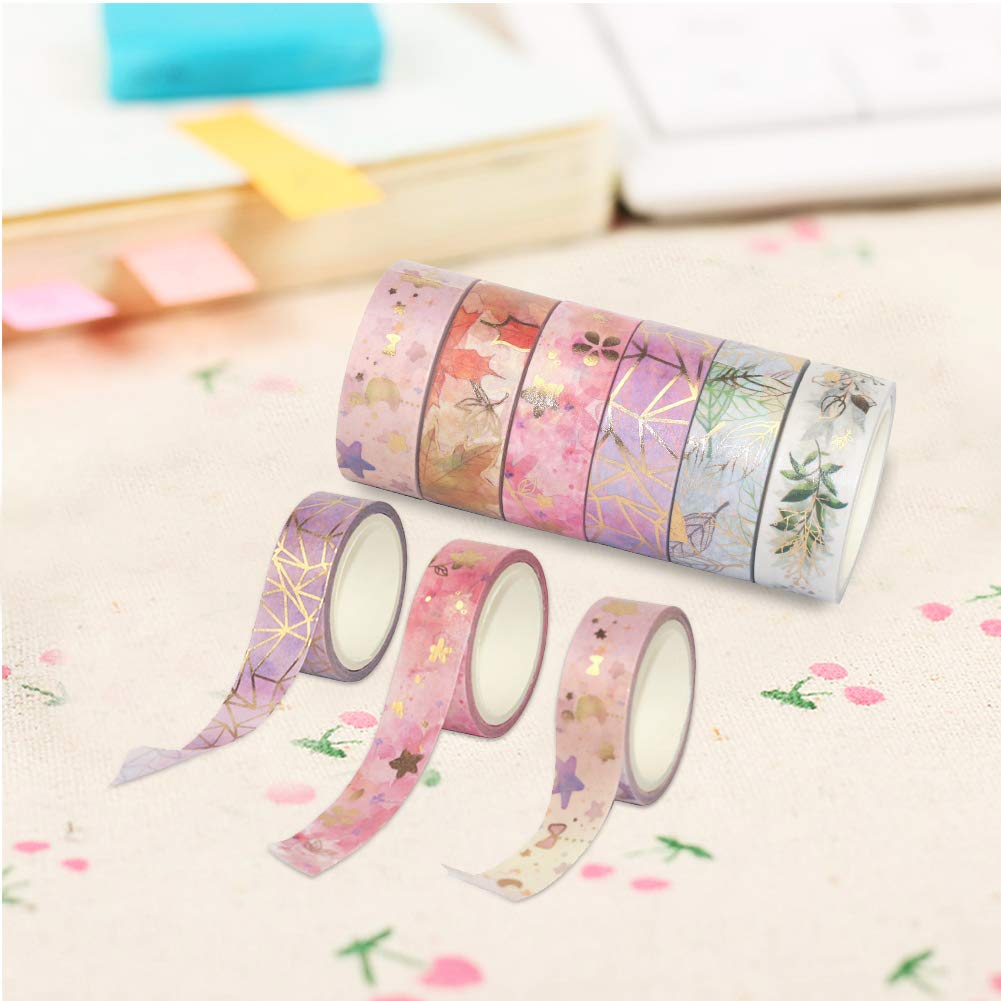 Hileyu Set di Nastri Washi Tape Decorativo Coprente Nastro Carta Adesivo Colorato per Decorare Agende Scrapbook Album Foto e Progetti Artistici Fai da Te 6 Rotoli