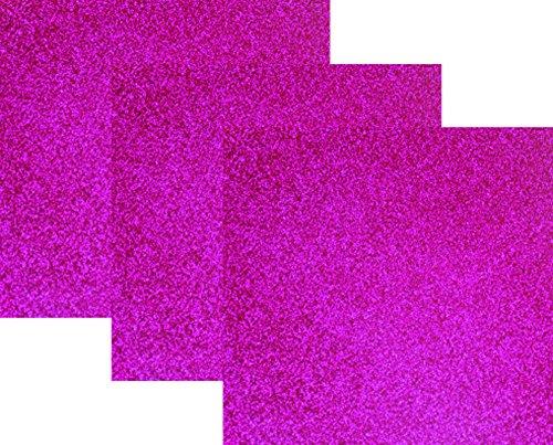 10x12(1 Foot)3-Sheets,Siser Glitter Iron-on Heat Transfer Vinyl HTV for T-Shirts( Hot Pink )