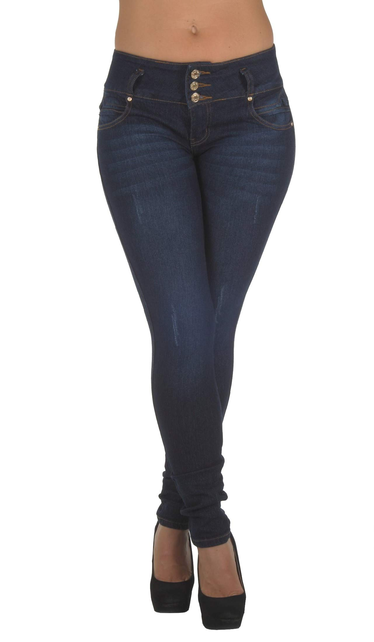 Style N491SK– Colombian Design, Butt Lift, Levanta Cola, Stretch Skinny Jeans in Dark Blue Size 1