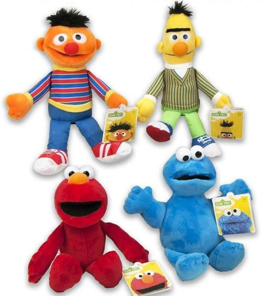Sesame Street Conjunto Completo 4 Felpa Plush Personajes 18cm Muppets Blas Elmo Epi Monstruo de Las Galletas Originales Oficiales