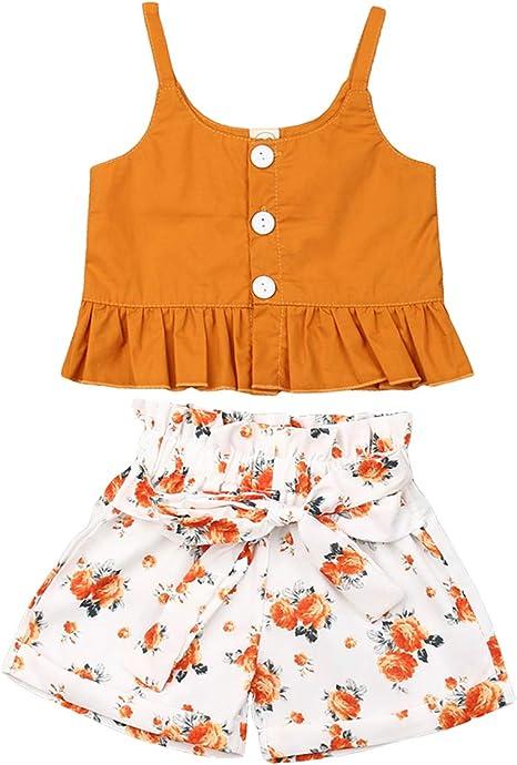Amazon.com: VISGOGO - Conjunto de ropa para bebé y niña con ...