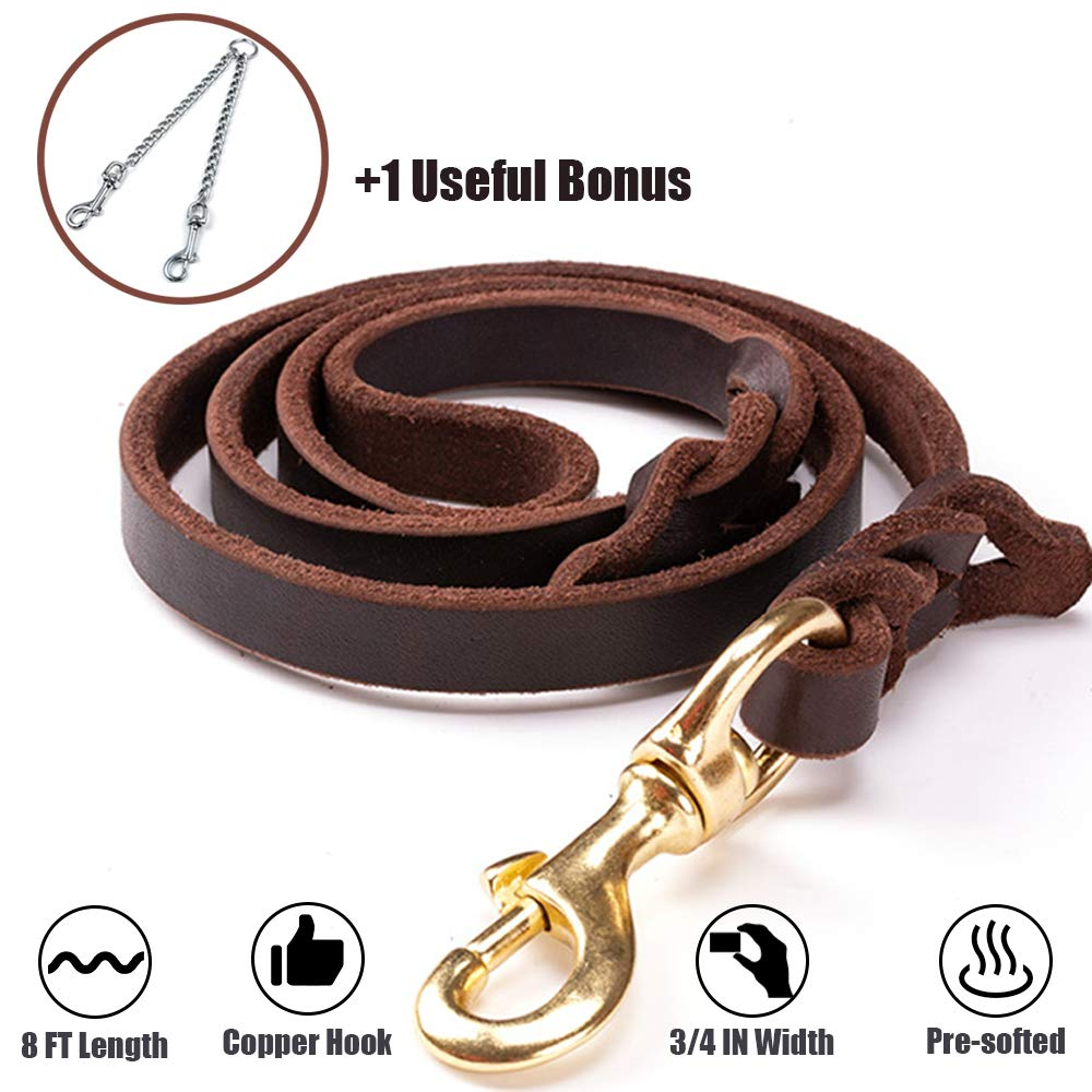 PROPLUMS Leather Dog Leash 8 ft Length |3/4in Width |0.19in Thickness |Pre-softened with Bonus of Multi-Using Chain and Copper Hook Training Heavy Duty Braided Leash Gift for Large Medium Puppy Dog