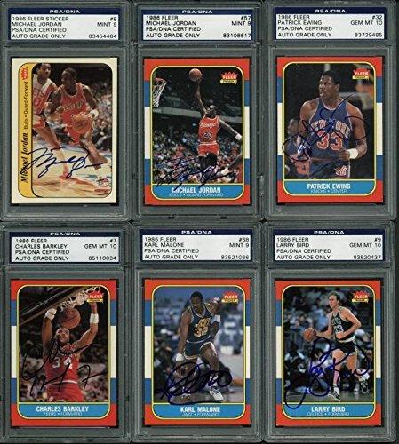 1986 Fleer Basketball Signed Complete Set -144 Cards All Graded 9 Or 10