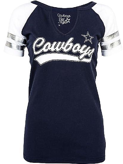 f14413b7 Amazon.com : Dallas Cowboys Women's Rhinestone Palmer V-neck T-shirt ...