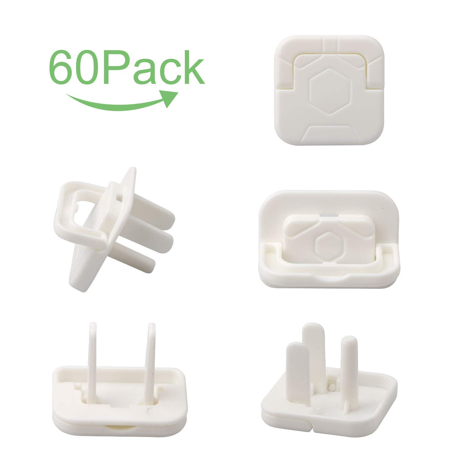 BERACKY Outlet Plug Covers Electrical Protector Child Proof Safety Caps Socket Covers 60 Pack | 2 Prong & 3 Prong Mixed | Simple Installation | Protect Toddlers & Babies by BERACKY
