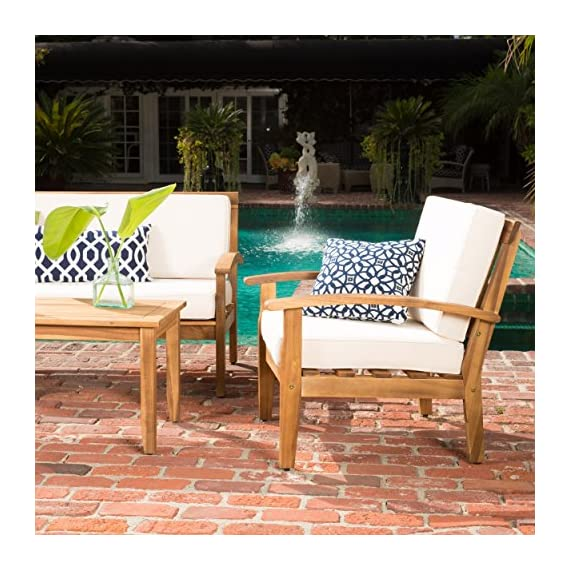 GDF Studio Preston 4 Piece Wood Outdoor Patio Seating Chat Set w/Beige Cushions - Includes: Two (2) Club Chairs, One (1) Loveseat, and One (1) Table Club Chair Dimensions: 32.50 inches deep x 28.00 inches wide x 31.25 inches high Seat Width: 22.75 inches Seat Depth: 23.25 inches Seat Height: 16.75 inches Arm Height: 22.50 inches Loveseat Dimensions: 32.50 inches deep x 50.75 inches wide x 31.25 inches high Seat Width: 45.50 inches Seat Depth: 23.25 inches Seat Height: 16.75 inches Arm Height: 22.50 inches - patio-furniture, patio, conversation-sets - 61KLAXcC8dL. SS570  -