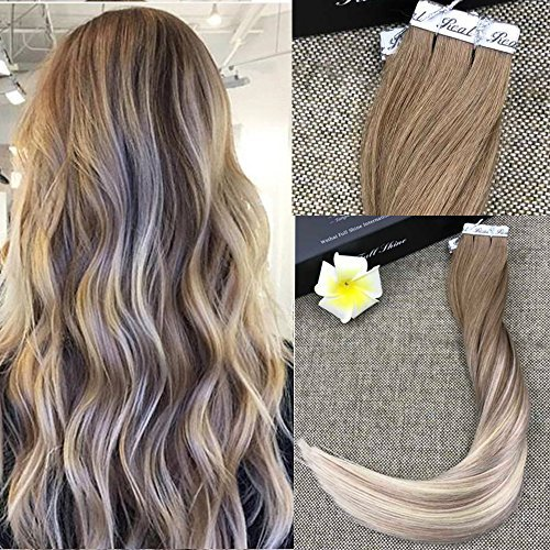 "Full Shine 14"" Skin Weft Professional Hair Extensions Balayage Tape in Extensions Color #8 Ash Brown Fading to Blonde #60 and #18 20Pcs 50 Gram Remy Tape Extensions"