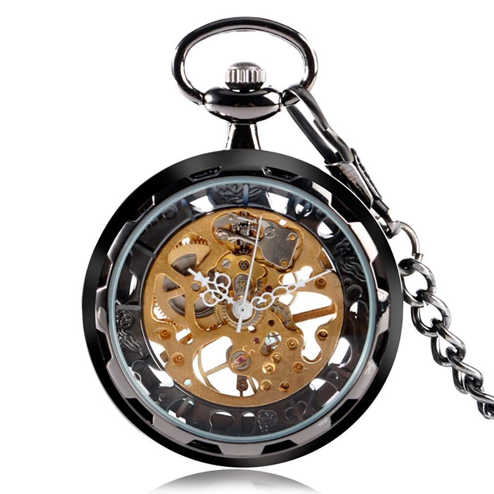 Black Antique Pocket Watch, Jewelry Hand Winding Mechanical Pocket Watch, Astonishing Gift for Men