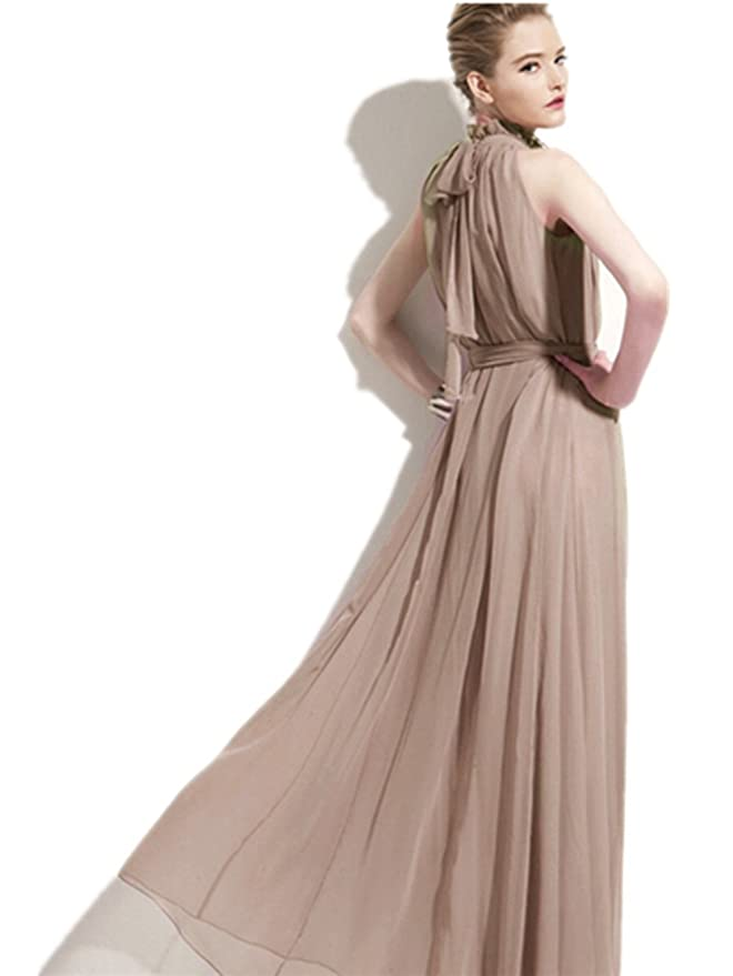 CITY Böhmische Chiffon High Neck ärmelloses langes Kleid (Brown ...